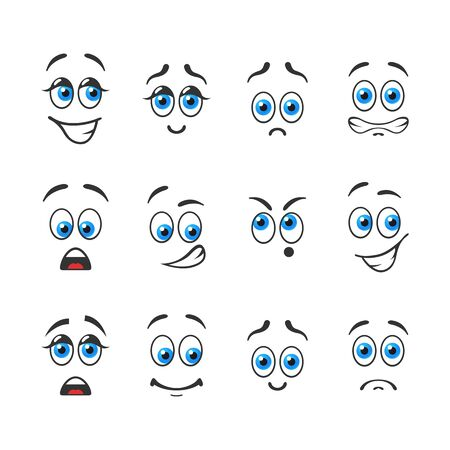 smile  teeth: Different funny emotions with blue eyes Illustration