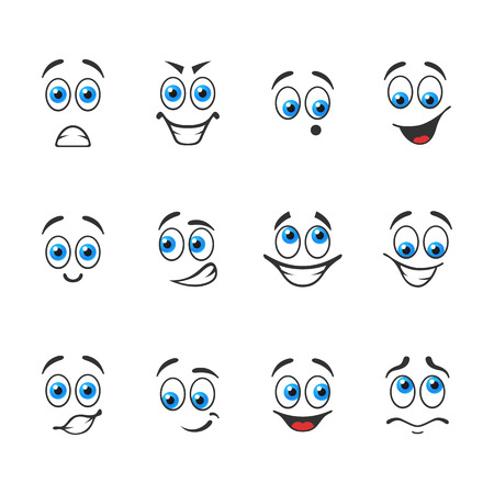 Different funny emotions with blue eyes 向量圖像
