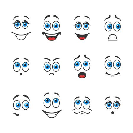 Different funny emotions with blue eyes