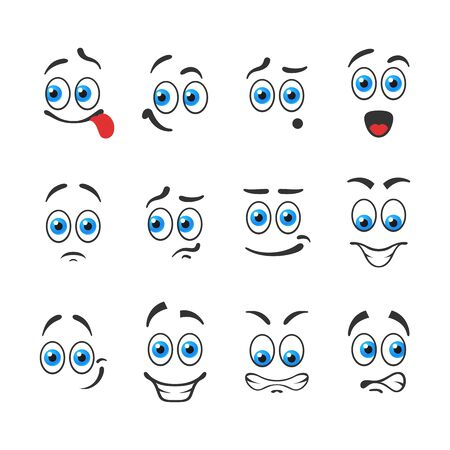 blue eyes: Different funny emotions with blue eyes Illustration