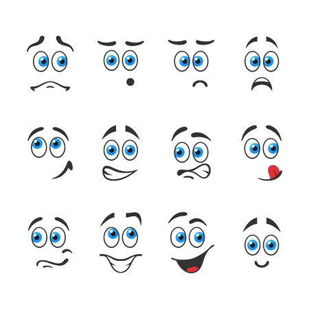 interested: Different funny emotions with blue eyes Illustration