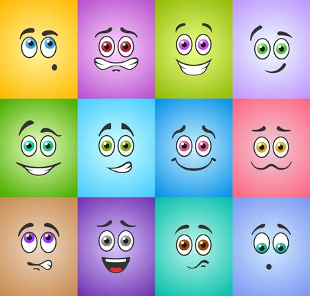 emo��es: Different funny emotions with colored eyes