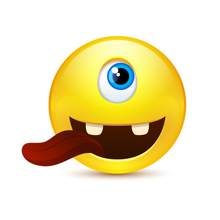 tightness: Funny yellow smile with tongue