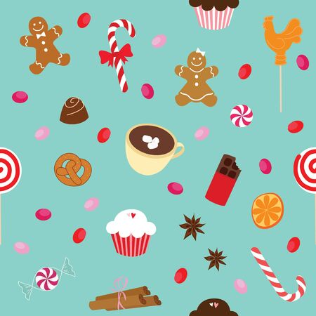 pretzel stick: Vector illustration Christmas pattern