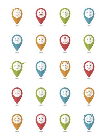 protruding eyes: 20 smiles vampires icons pointer set Illustration