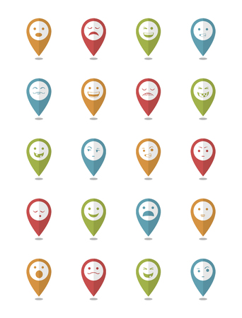 surprisingly: icons set 20 emotional smiles in pointers with differents colors