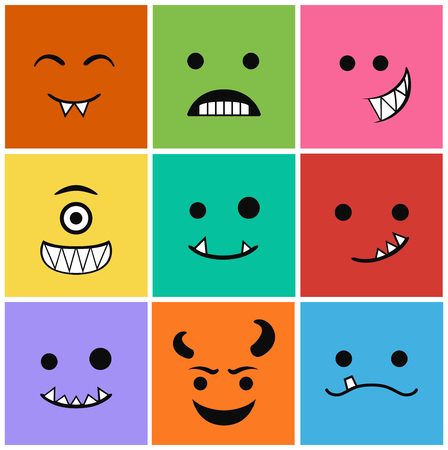 protruding eyes: 9 icons set faces and characters different in colors