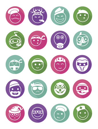 20 icons set profession smilies differents colors and emotions in pointers