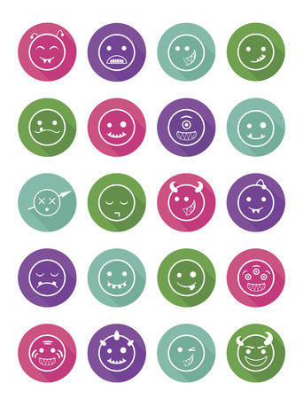 malevolent: 20 smiles vampires icons colored set