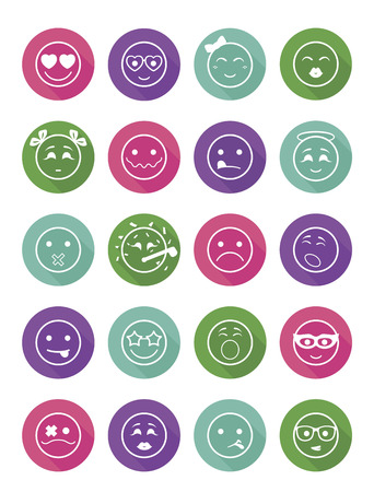 bespectacled man: 20 smiles icons set child girls and boys in color circle