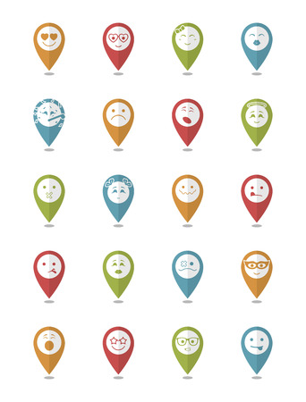 bespectacled man: 20 smiles icons set child girls and boys in color pointers Illustration