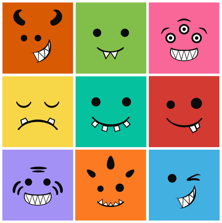 malevolent: 9 icons set faces and characters different in colors