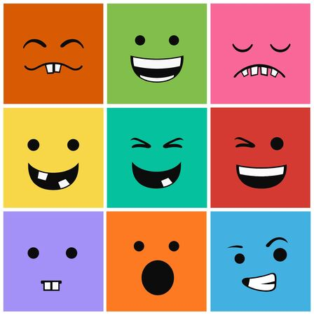 9 icons set faces and characters different in colors