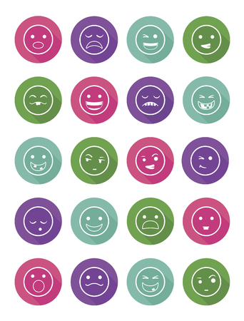 icons set 20 emotional smiles in circles with differents colors Illustration