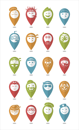 bespectacled man: 20 icons set profession smilies differents colors and emotions in pointers