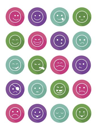 icons set 20 faces and characters different in colored circles Illustration