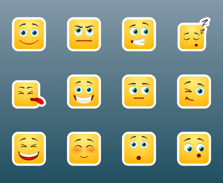 smily face: Set of 12 cure smile emoticon stickers for chat Illustration