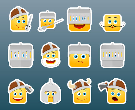 sward: Set of 12 knight smile stickers