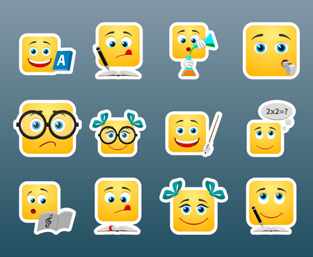 lessons: Set of 12 school smile stickers
