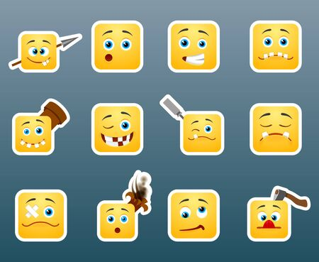 smily face: Set of 12 wounded smile stickers