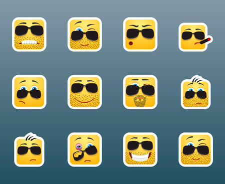 envy: Set of 12 smile emoticon stockers with sunglasses