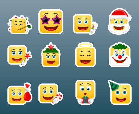 cartoon clown: Set of 12 Christmas vacation smile stickers