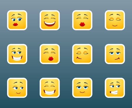 beguin: Set of 12 emoticon smile stickers Illustration