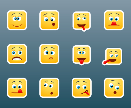 kidding: set of 12 cute emoticon smile stickers for chat Illustration