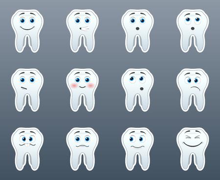 Set von 12 Zähnen lächeln Aufkleber