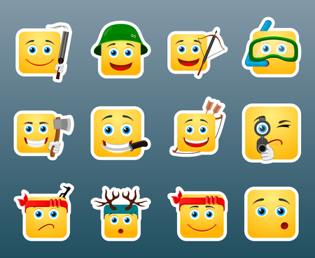 snorkelling: Set of 12 emoticon hunting smile stickers