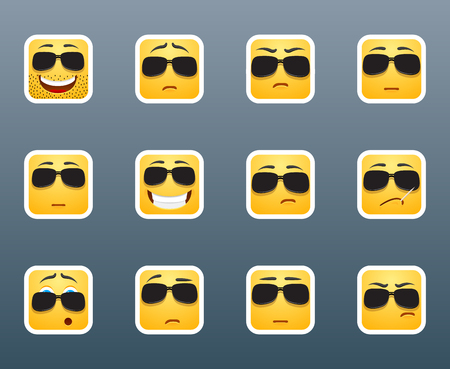 emotion: Set of 12 emoticon smile stickers with sunlasses Illustration