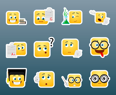 od: Set od 12 studying smile stickers Illustration