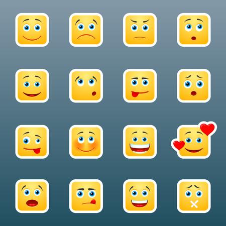 smily face: Set of 16 emoticom smile stickers