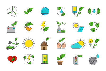 recycling symbols: Set of 24 eco vector icons