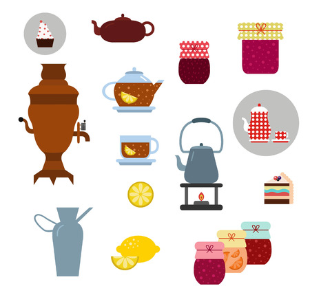 tea ceremony: Vector tea ceremony icons set on white Illustration