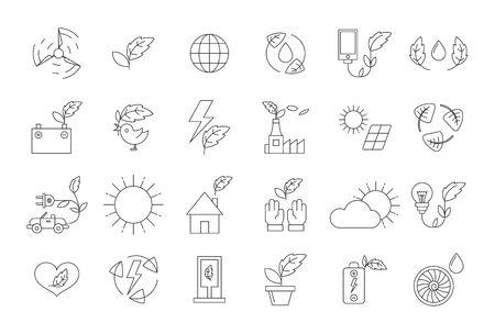 eco icons: Vector black eco icons set on white