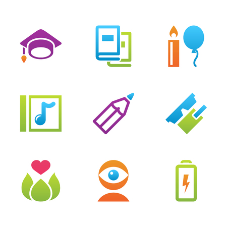 science education: icon set education and science color