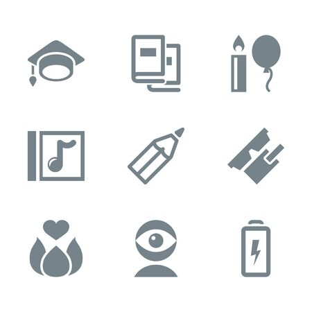 science education: icon set education and science gray