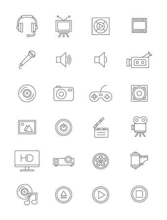 multimedia icons: Set of 24 vector black multimedia icons