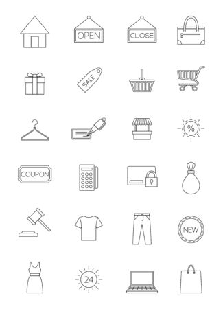 e new: Design shopping market icon set black and white