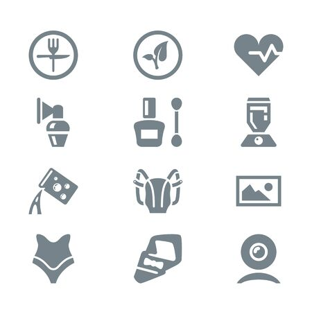 household objects: icon set different household objects gray