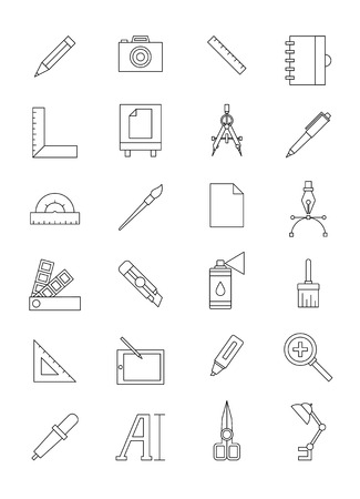 prepress: Work design icon set black and white Illustration