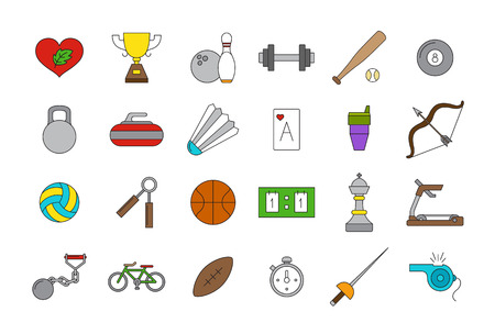 american table: Set of 24 vector sport icons Illustration