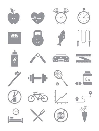 lifestyle: Set of 24 gray healthy lifestyle icons