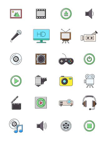multimedia icons: Set of 24 multimedia icons