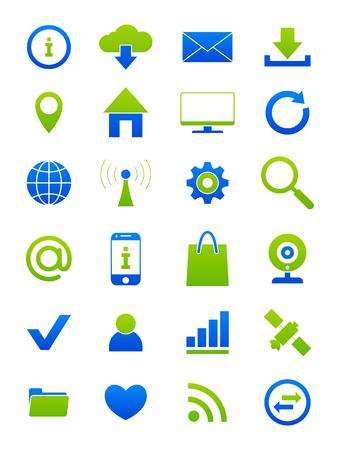 bluegreen: Set of 24 blue-green Internet  icons Illustration
