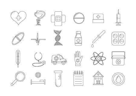 Set van 24 medische pictogrammen Vector Illustratie