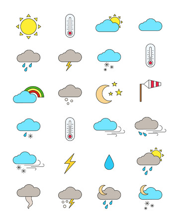 day forecast: Set of 24 color weather forecast icons