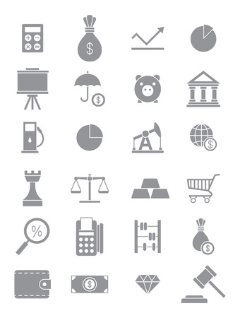 economy: Set of 24 grey economy icons