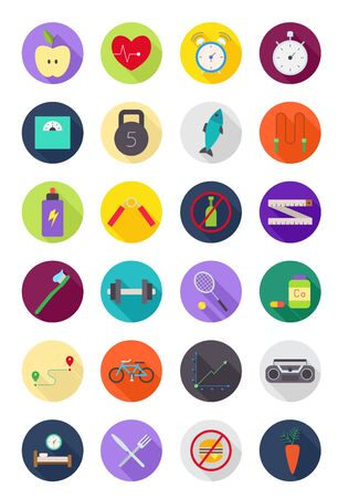 lifestyle: Set of 24 color round healthy lifestyle icons